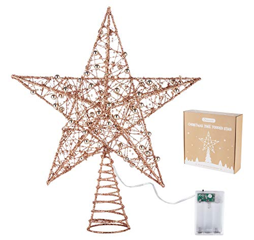 Homewit Glitzer Baum Topper aus Metall, Weihnachtsbaum Topper Stern mit Roségold Metallperlen für Weihnachten, Tannenbaumspitze für Ihren Christbaum, 30 cm - Blinkbare Lichter