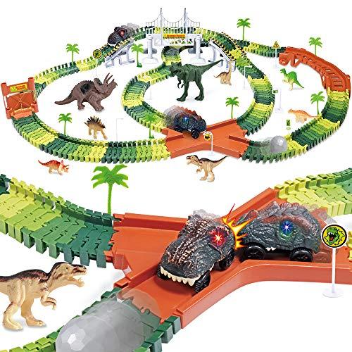 Dinosaur Track Toy Set 305 Piece, Dinosaur Car Race Track Toy with 264 Flexible Tracks, 2 LED Light Up Dinosaur Cars, Create a Dinosaur Track, Dinosaur Toy for Kids Boys Children Girls Ages 3+