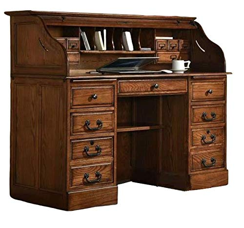 Roll Top Desk Solid Oak Wood - Executive Oak Desk 54'x24'x45' Home Office Secretary Organizer Roll Hutch Top Easy Assembly Quality Crafted Construction Locking File Drawers Dovetailed