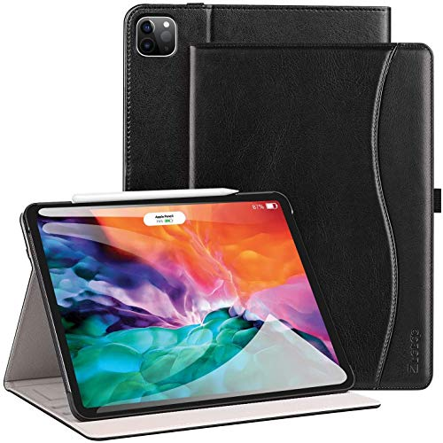 ZtotopCase for New iPad Pro 12.9 Case 2020, Premium Leather Folio Stand Case Smart Cover with Auto Sleep/Wake, Supports iPad Pencil Charging for 2020 iPad Pro 12.9 Inch 4th Generation - Black