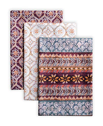 Maison d' Hermine Fair Isle 100% Cotton Set of 3 Multi-Purpose Kitchen Towel Soft Absorbent Dish Towels   Tea Towels   Bar Towels   Thanksgiving/Christmas (20 Inch by 27.50 Inch)