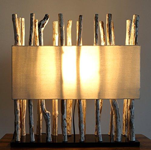 *Guru-Shop Tischleuchte/Tischlampe Tabanan, in Bali Handgemachtes Unikat aus Naturmaterial,Treibholz, Baumwolle – Modell Tabanan, 54x52x18 cm, Dekolampe Stimmungsleuchte*