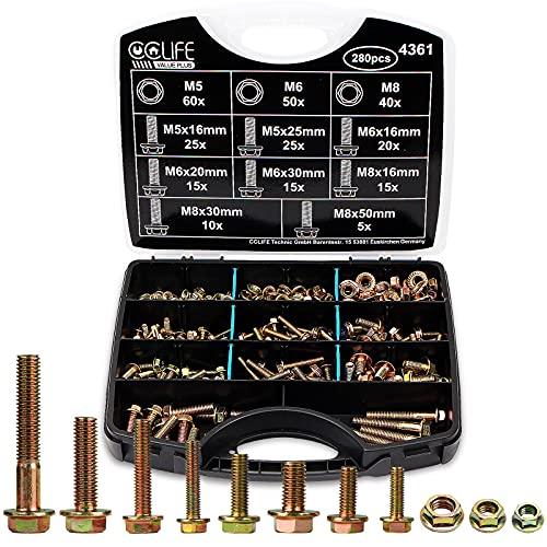 CCLIFE 280tlg M5 M6 M8 Flansch Schrauben DIN 6921 und Muttern DIN 6923 Set Sechskantschrauben Vollgewinde Sortiment