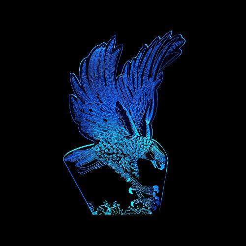 LBJZD luz de noche 3d Lámpara De 7 Colores Con Forma De Águila, Luces De Noche Led Visuales En 3D Para Niños, Lámpara De Mesa Usb, Luz De Noche Para Dormir, Lámpara De Luz Led Usb Con Base Negra