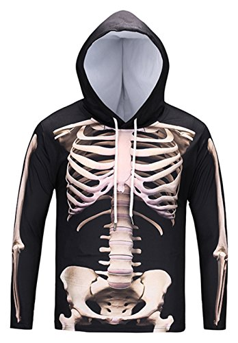 Pizoff Unisex Hip Hop Cosplay Sweatshirt Maskerade Kapuzenpullover mit Bunt 3D Knochen Skelett Digital Print - Ag002-11 - Small