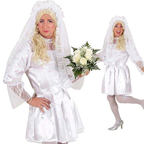 NET TOYS Braut Kostüm Drag Queen Kleid weiß XL 54/56 Männer Brautkleid Herren Kleid Junggesellenabschied Brautkostüm Männerballett