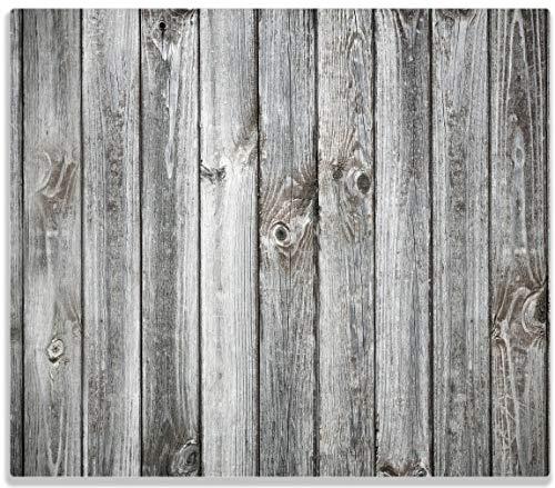 Wallario Herdabdeckplatte/Spritzschutz aus Glas, 1-teilig, 60x52cm, für Ceran- und Induktionsherde, Holz-Optik Textur hellgraues Holz Paneele Dielen mit Asteinschlüssen