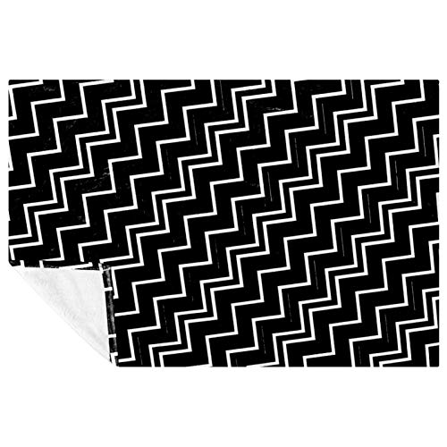 CHINFY Manta de forro polar en zigzag, color blanco y negro, para viajes, mullida y suave, hipoalergénica, reversible, ligera