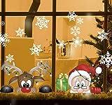 Milaloko Adesivi per vetri a Fiocco di Neve a 4 Fogli per vetri, Decorazioni per Decalcomanie di Natale Decorazioni per Fiocchi di Neve di Babbo Natale Renne per Festa