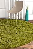Solid Shag Green Modern Geometric Plain Plush 8 Round (7'10' Round) Area Rug Easy to Clean Stain/Fade Resistant Thick Soft