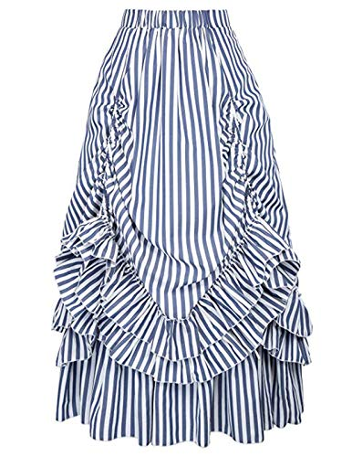 Gothic Steampunk Costume Show Ruffle Layered Skirt for Women (XL, Blue White)