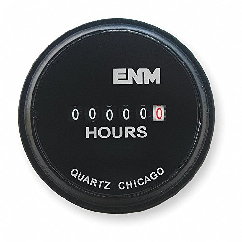 ENM Hour Meter, 120 to 240VAC Operating Voltage, Number of Digits: 6, Round Bezel Face Shape