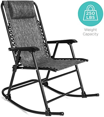 Best Best Choice Products Foldable Zero Gravity Rocking Patio Recliner Chair Gray