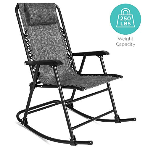 Best Choice Products Foldable Zero Gravity Rocking Patio Recliner Chair Gray