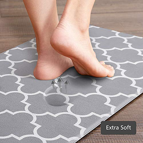 KMAT Kitchen Mat [2 PCS] Cushioned Anti-Fatigue Kitchen Rug, Waterproof Non-Slip Kitchen Mats and Rugs Heavy Duty PVC Ergonomic Comfort Foam Rug for Kitchen, Floor Home, Office, Sink, Laundry,Grey