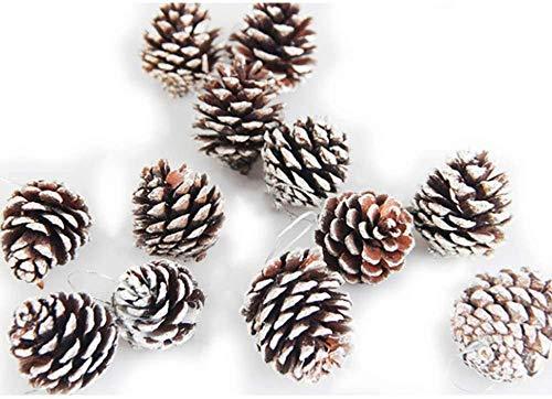 Lot de 24 pommes de pin naturelles de 5 cm pour sapin de Noël, pics à suspendre avec chaîne de pendentif, décoration d'intérieur