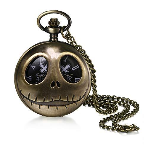 Avaner Antike Taschenuhr Analog Steampunk Uhr mit arabischen Ziffern Kette für Herren Damen Bronze Quarzwerk/Handaufzugwerk Vatertag Halloween Weihnachten Geschenk