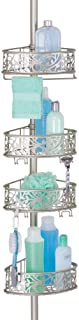 mDesign étagère d'angle en métal – étagère de douche télescopique sans perçage – meuble d'angle salle de bain élégant pour...