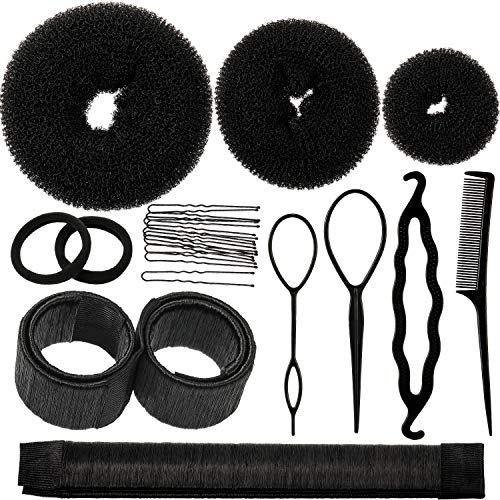 Hair Bun Shaper Set, Include 3 Pieces Hair Bun Donut, 2 Pieces Bun Marker, 4 Pieces Ponytail Hair Tool, 10 Pieces Bobby Pins and 2 Pieces Elastic Bands for Women Kids Hair Bun Maker Kit (Black)
