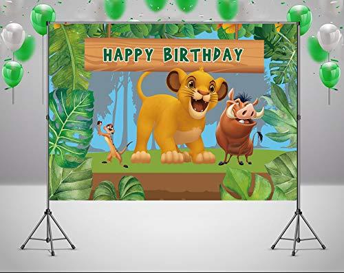 RUINI Telón de fondo temático de dibujos animados del Rey León Jungla Safari Boy fiesta de cumpleaños telón de fondo 5 x 3 pies