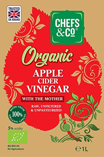 CHEFS & CO Bio Apfelessig | mit Essigmutter | Glasflasche | 100% Roh | Naturtrüb | 5% Säure (1 Liter Apfelessig)