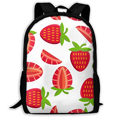 XCNGG Pink Red Colorful Cute Funny Strawberry Large Capacity Travel Computer Backpack, Adult Printed Backpack, Portable Multifunctional Student Backpack