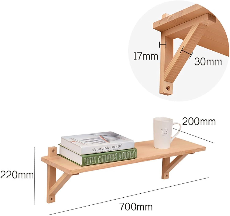 JH Wand-Lagerregal Wand massivholz Regal einfache Wohnzimmer wandregal massivholz dreieck Halterung multifunktionale Regale (gre   70cm)