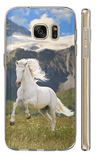 Samsung Galaxy A5 2017 Hülle Handyhülle Silikon Backcover Schutzhülle Soft Case Cover TPU mit Motiv 477 Pferd Hengst Weiß Wiese Grün Weiß Blau Hülle für Samsung Galaxy A5 2017