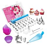 70pcs Cake Decorations Set,Cadrim Icing Piping Tips Set 48pcs Piping Nozzles,2 Reusable Piping Bags, 2 Couplers, 10 Disposable Piping Bags, 5 Silicone Cupcake Moulds