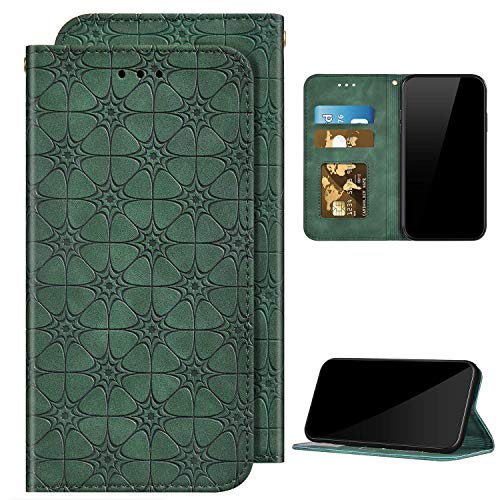 Compatible con Huawei Y6 2019 funda de piel sintética con tapa para teléfono móvil, diseño de flores, cierre magnético, ranura para tarjetas, funda protectora con función atril, color verde oscuro