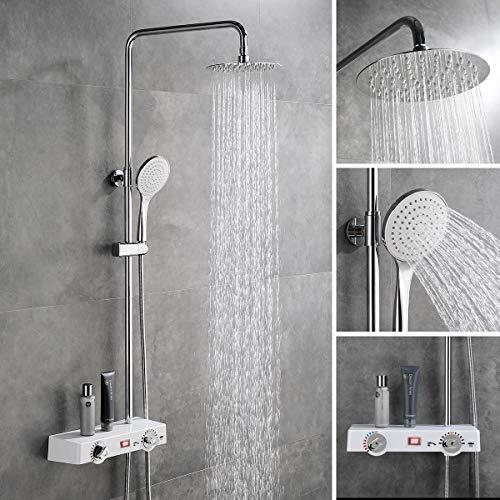 CREA LCD-Temperatur-Anzeige Thermostat Duschsystem mit Ablage, Regendusche mit Handbrause, inkl. Duschkopf und Duschstange, Duschset für Badezimmer, Messing verchromt (Keine Batterie erforderlich)
