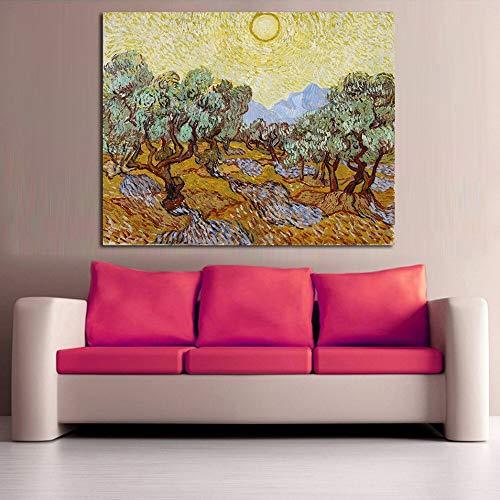 Geiqianjiumai olijfboom zonneschijn landschap olieverfschilderij woonkamer foto decoratie muurkunst frameloos schilderwerk