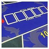 Mantel de póquer de fieltro de ruleta de 1,2 m, mantel de Texas de goma, juego de mesa de póquer, impresión digital de ante y casino, accesorios de póquer (color azul)