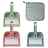 Erduoduo 3 Pack Dust Pans with Brush - Mini Hand Broom Set Cleaning Tool for Table, Desk, Countertop, Key Board