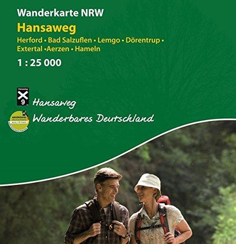 Wanderkarte NRW: Hansaweg: Herford - Bad Salzuflen - Lemgo - Dörentrup - Extertal - Aerzen - Hameln