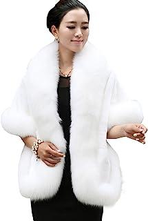 9b797fb2de Caracilia Women s Faux Fur Coat Wedding Cloak Cape Shawl for Evening Party