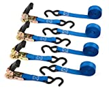 Premium Ratchet Tie Down - 4 Pk - 15 Ft - 500 Lbs Load Cap - 1500 Lb Break Strength - Cargo Straps for Moving Appliances, Lawn Equipment, Motorcycle in a Truck - Cambuckle Alternative - Ergonomic Grip
