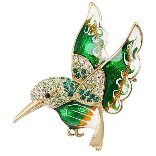 EVER FAITH® österreichischen Kristall Schmelz elegant Vögel Brosche Grün Gold-Ton N04945-2