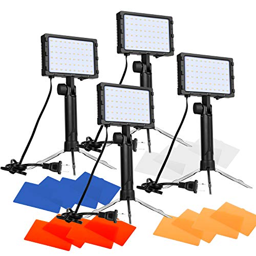 Emart 60 LED Continuous Portable Photography Lighting Kit for Table Top Photo Video Studio Light Lamp with Color Filters - 4 Packs