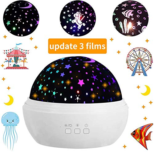 Star Night Light Projector, 3 Films Baby Bedside Lamp 360 Degree Rotating Sky Night Lamp, 8 Color Modes Nersury Light Projector with USB Cable for Baby, Kid Bedroom Decor