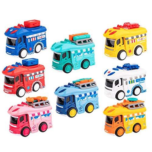 8 PC Tire hacia atrás Cars Toys, Fricción Ambulancia Powered Autos fundidos a los niños, Juguetes Coche for 1,2,3,4 Year Old Girls & Boys (Color : Natural)