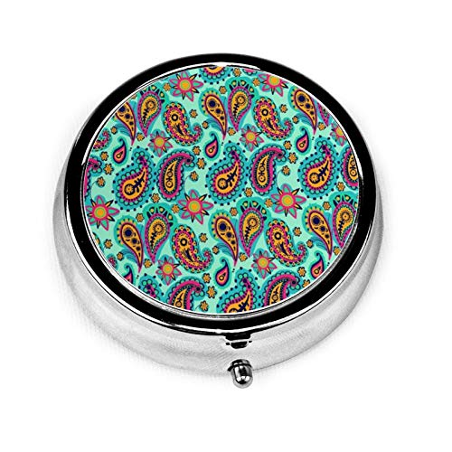 Pretty Orange Paisley Print On Mint Green Round Pill Container 3 Compartment Metal Medicine Case Vitamin Organizer Holder Decorative Box for Travel Outdoors