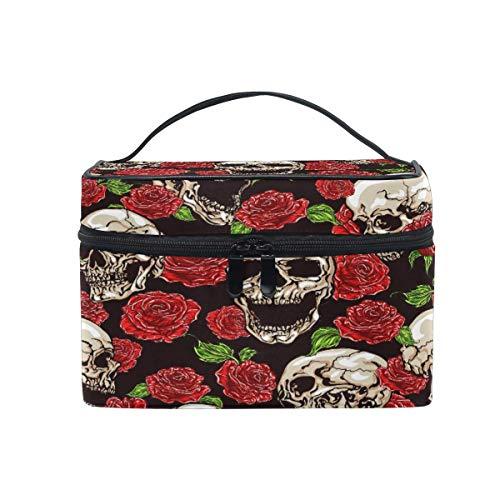 Bolsa de maquillaje, diseño de calavera de Halloween y rosa de viaje, con compartimentos organizadores para niñas, mujeres y mujeres