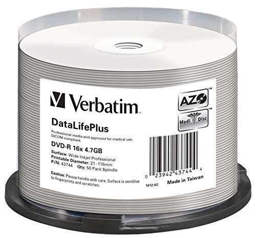 Verbatim DVD-R 16x Wide Inkjet Professional 4.7GB I DataLifePlus I 50er Pack Spindel I DVD Rohlinge bedruckbar I 16-fache Brenngeschwindigkeit & lange Lebensdauer I DVD-R printable I DVD leer