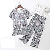 WANGJUN Pigiama Cartoon Set T-Shirt Manica Corta Sexy Femminile Pantaloni Lunghi Fashion Home Cotton Mom Big Size Sleepwear (Size : XX-Large)