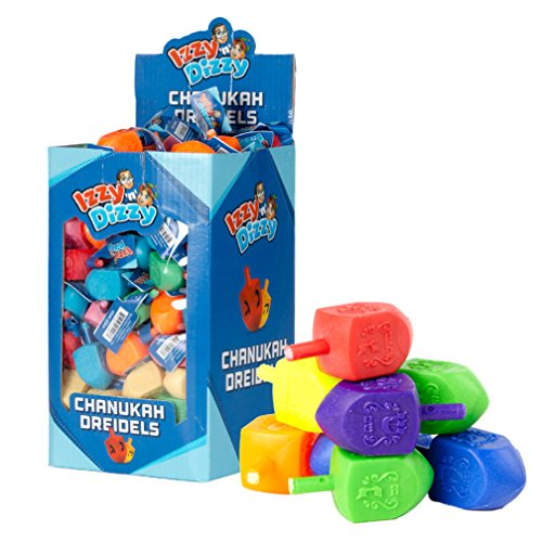 50 Large Dreidels - Assorted Colors - Classic Chanukah Spinning Draidel Game, Gift and Prize - Bulk Value Pack - by Izzy n Dizzy