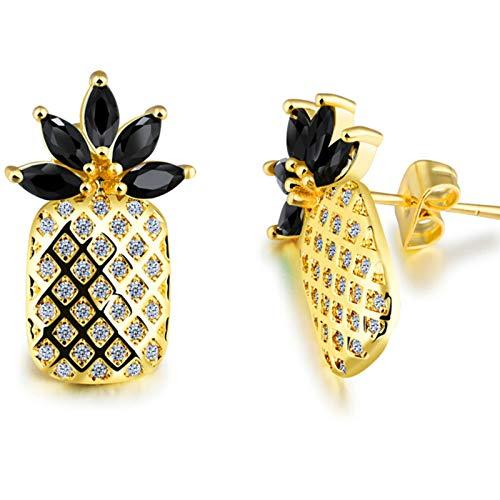 ZHENAO Joyas de novedad-Mujeres Conjuntos de joyas de piña y fruta amarilla Pendientes de cristal para los regalos del día de San Valentín colgador/Negro