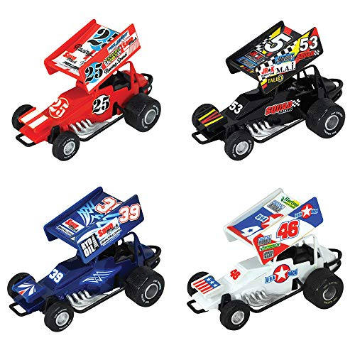 Kipp Brothers Sprint Car Pull Back Racing Toy Cars with Decals - Pack of 8