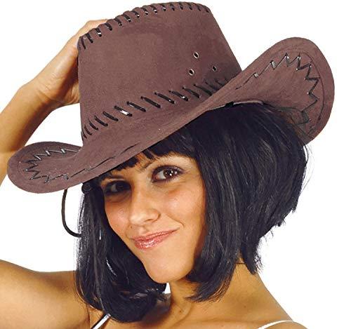 Fiestas Guirca Cowboyhut braun Wildleder-Optik Damen Herren Hut Western Fasching Mottoparty