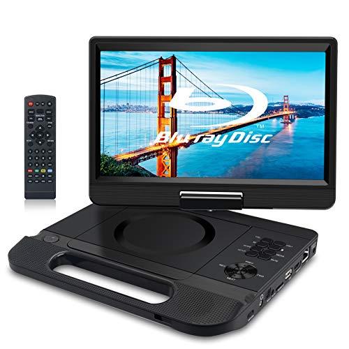 FANGOR Lettore Blu-ray portatile da 10,1 pollici, con schermo girevole a 270°, 1920 x 1080 Full HD, home theatre, supporta HDMI Out/AV IN/LAN/USB/SD con batteria ricaricabile